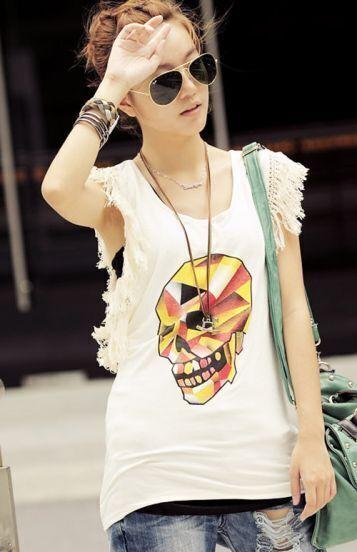 White Paintily Skull Print Tassel Sleeve T-shirt