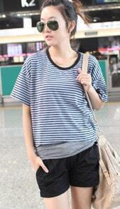 Blue Stripe Print Dipped Hem Short Sailor T-shirt