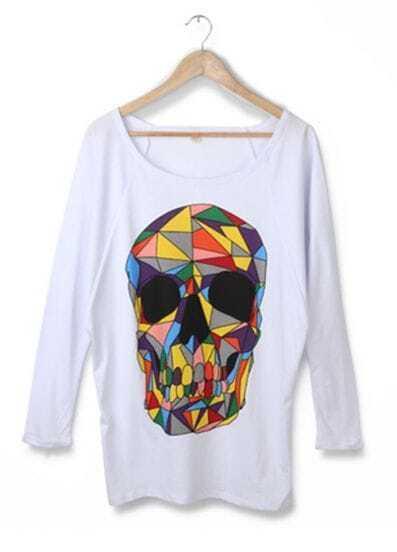 White Colored Skull Print Long Sleeve T-shirt