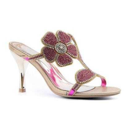 Purple Flower Rhinestone Leather Sandals