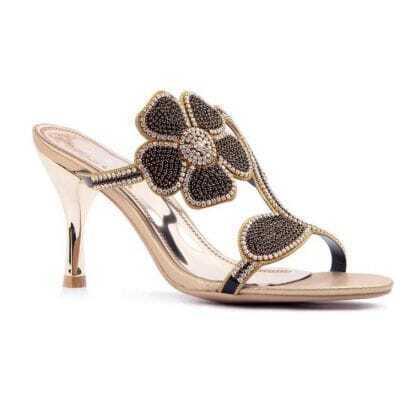 Black Flower Rhinestone Leather Sandals