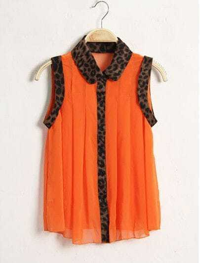 Leopard Pleated Sleeveless Lapel Chiffon Shirt Orange