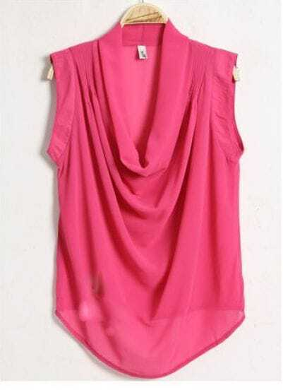 Solid Sleeveless Chiffon Shirt Red
