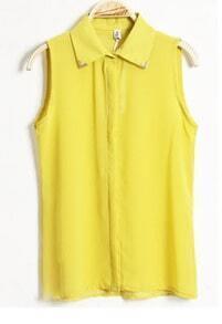 Solid Lapel Sleeveless Chiffon Shirt Yellow