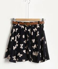 Blue Butterfly Pleated A-line Mini Skirt