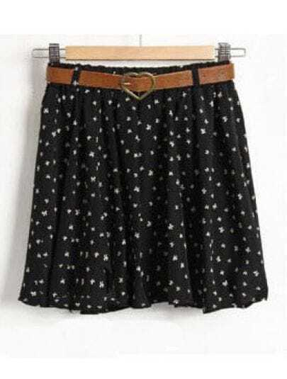 Black Floral Pleated A-line Mini Skirt