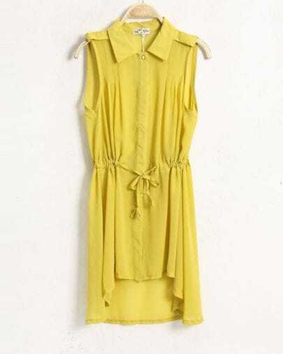 Candy Color Lapel Sleeveless Waist Chiffon Dress Yellow
