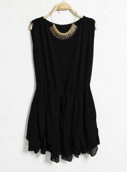 Solid Round Neck Sleeveless Sashes Dress Black