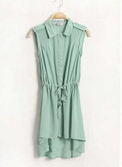 Candy Color Lapel Sleeveless Waist Chiffon Dress Green