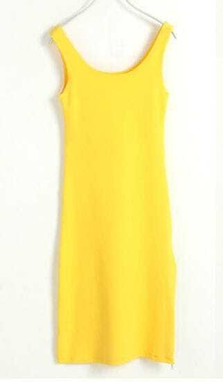 Round Neck Sleeveless Solid Slim Dress Yellow