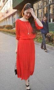 Red Off the Shoulder Pleated Dress