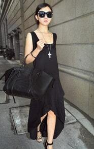 Black Asymmetrical Vent Sweep Chiffon Dress