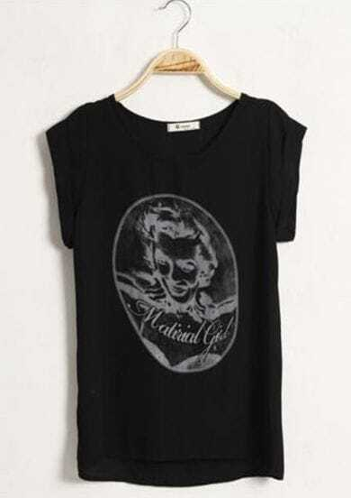 Monroe Print Black Loose Short Sleeve Tshirt