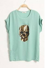Green Lace Embellished Skull Roll Short Sleeve T-shirt