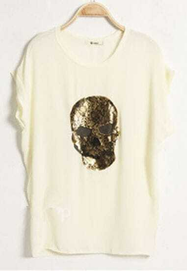 Apricot Lace Embellished Skull Roll Short Sleeve T-shirt