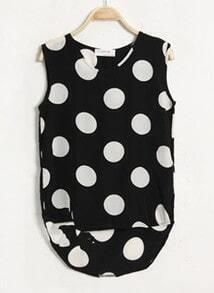 Black Dot Print Dipped Hem Tank Vest