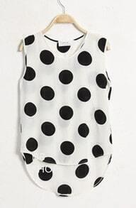 White Dot Print Dipped Hem Tank Vest