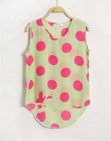 Green Dot Print Dipped Hem Tank Vest