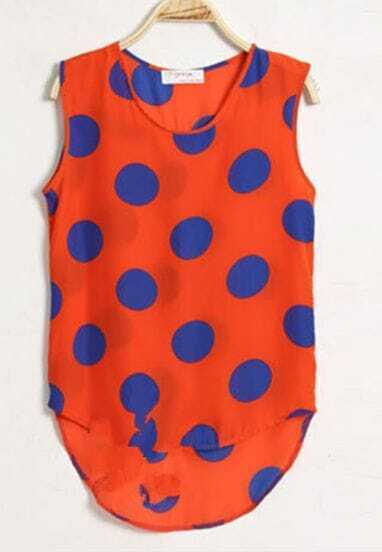 Orange Dot Print Dipped Hem Tank Vest
