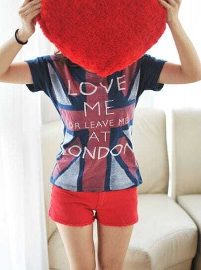 Blue LOVE ME LONDON Short Sleeve Union Jack T-Shirt