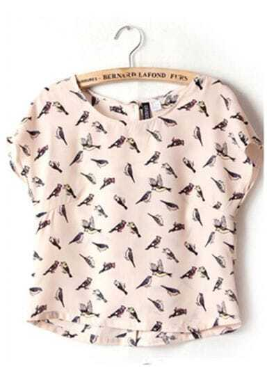 Bird Round Chiffon Short-sleeve Shirt