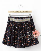 Dark-blue Peach Print Beading Mini Skirt