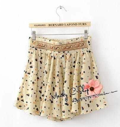 Buff Peach Print Beading Mini Skirt