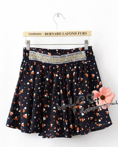 Dark-blue Peach Print Beading Mini Skirt