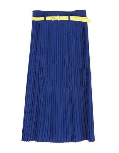 Vintage Candy Color Pleated Long Skirt Blue