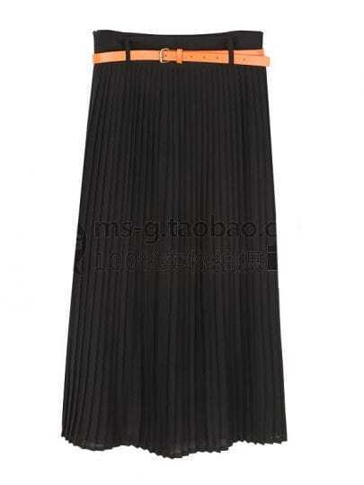 Vintage Candy Color Pleated Long Skirt Black