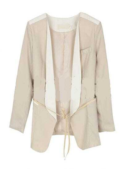 Solid Long-sleeved Sashes Suit Beige