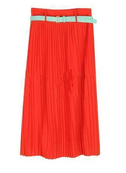 Vintage Candy Color Pleated Long Skirt Red