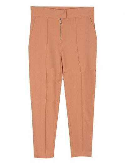 Mid-waist Solid Straight Pants Pink