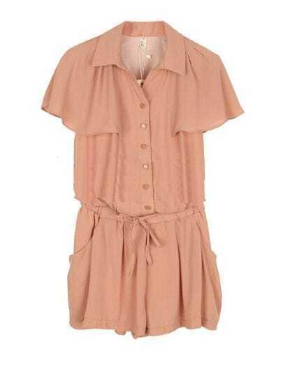 Cape Solid Mid-waist Chiffon Jumpsuit Pink