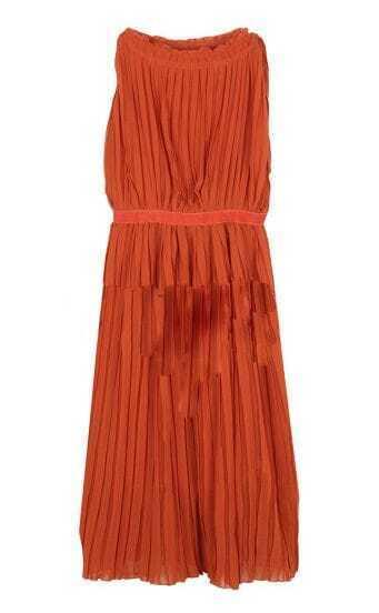 Solid Pleated Round Neck Sleeveless Chiffon Dress Orange