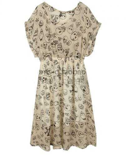 Skull Printed Short-sleeved Waist Chiffon Dress Beige