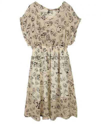 Skull Printed Short-sleeved Waist Chiffon Dress Beige