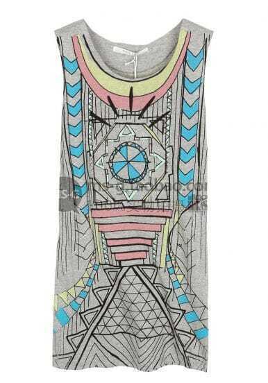 Grey Abstract Geometric Print Sleeveless Scoop Neck Dress T-shirt