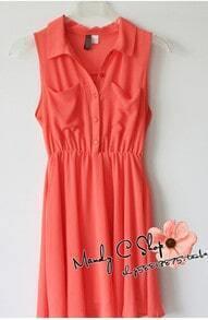 Orange Lapel Button Tank Dress