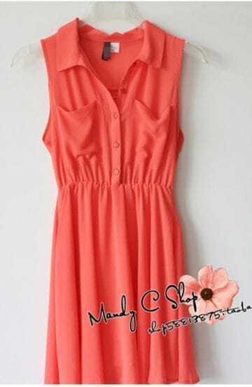 Orange Lapel Button Tank Dress