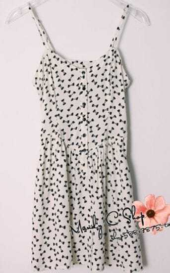 White Bowtie Print Slip Dress