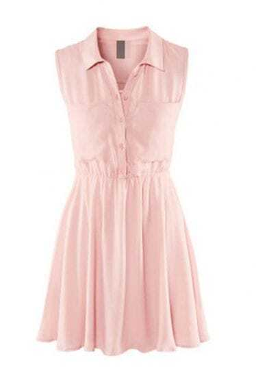 Light-pink Lapel Button Tank Dress