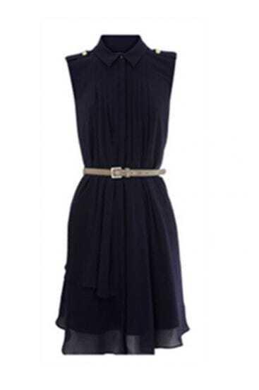 Dark-blue Shoulder Board Pleated Tank Chiffon Dress