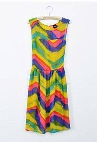 Gradient Stripe Tank Dress