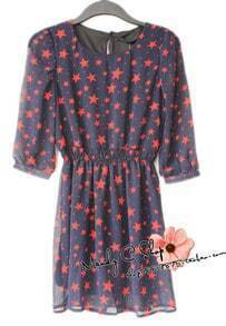 Red Star Print Round Chiffon Dress