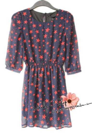 Red Star Print Round Chiffon Dress