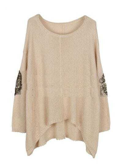 Sequined Solid Bat Sleeve Loose Shirt Beige