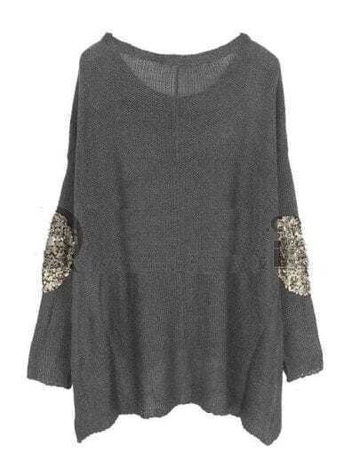 Sequined Solid Bat Sleeve Loose Shirt Grey