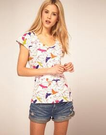 Cute Birds Printed Short-sleeved Shirt