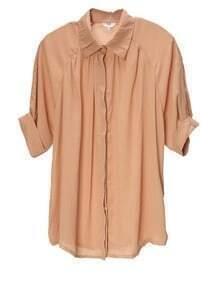 Vintage Solid Lapel Loose Chiffon Shirt Pink
